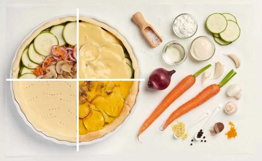 vegán zöldséges quiche - hozzávalók
