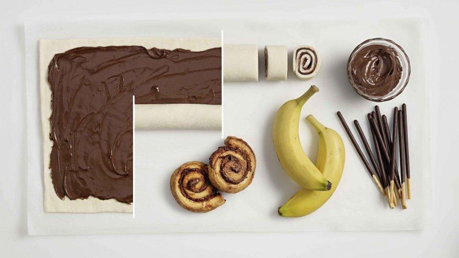 nugátkrémes csigák banánnal és csokis ropival - hozzávalók