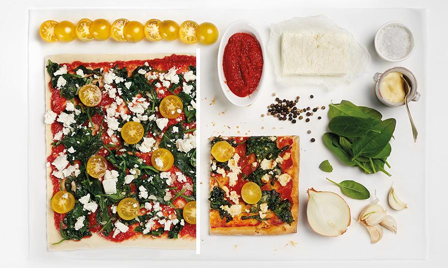 spenótos pizza fetával hozzávalók